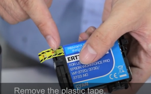 remove the plastic tape for Epson T702XL